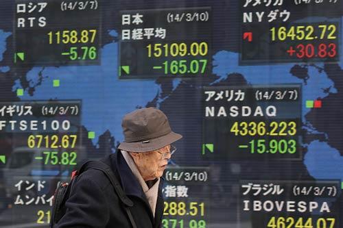 <div align=right><font color=blue>ⓒAP Photo</font></div>2014년 3월10일 한 노인이 일본 거리에 설치된 세계주가지수 전광판 앞을 지나가고 있다(위). 이날 일본 증시는 지난해 4분기 경제성장률에 대한 실망감으로 대폭 하락했다.