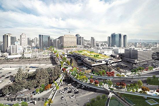 <div align=right><font color=blue>ⓒ서울역 7017 국제현상공모 참여작품집</font></div>서울역고가 공원화를 위한 국제공모전에서 네덜란드 건축가 비니마스의 <서울 수목원>이 당선작으로 선정됐다.