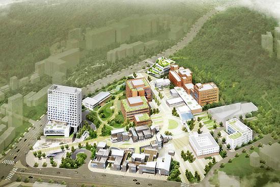 서울 은평구에 조성될 서울혁신파크 조감도(위). 담장을 허물고 복합공원으로 만들 계획이다.