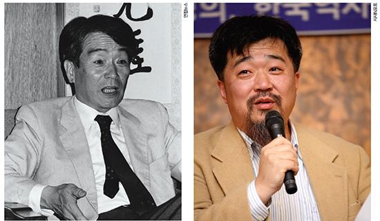 2004년에 타계한 출판인 구봉 한만년(위). 한홍구 교수(오른쪽)는 그의 막내아들이다.