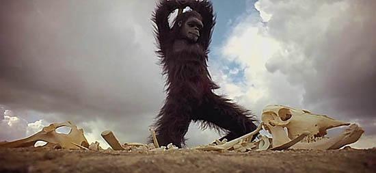 영화 <2001 스페이스 오디세이>의 첫 장면(위)은 영화사에 길이 남을 명장면이다.