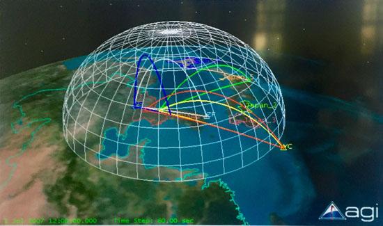 4월8일 중국 난징 관구 총사령관이 비공개 행사에서 보여준 종말단계 레이더의 시뮬레이션 지도.