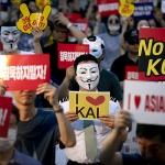 대한항공·아시아나 함께 외친 '회장 퇴진'